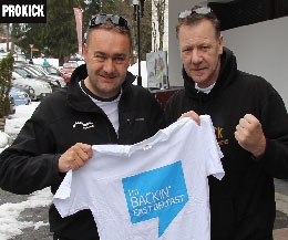 Billy Murray; Head Coach at the ProKick gym in east Belfast, and Mr Serge Beslin; Director of Villars Tourism. Both men are Backing east Belfast campaign