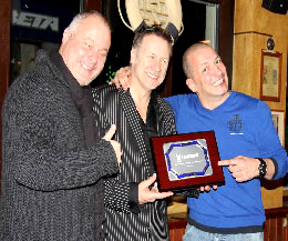 L-R Mr Oliver Muller and Carl Emery presenting Billy Murray with a Peace Fighters plaque.